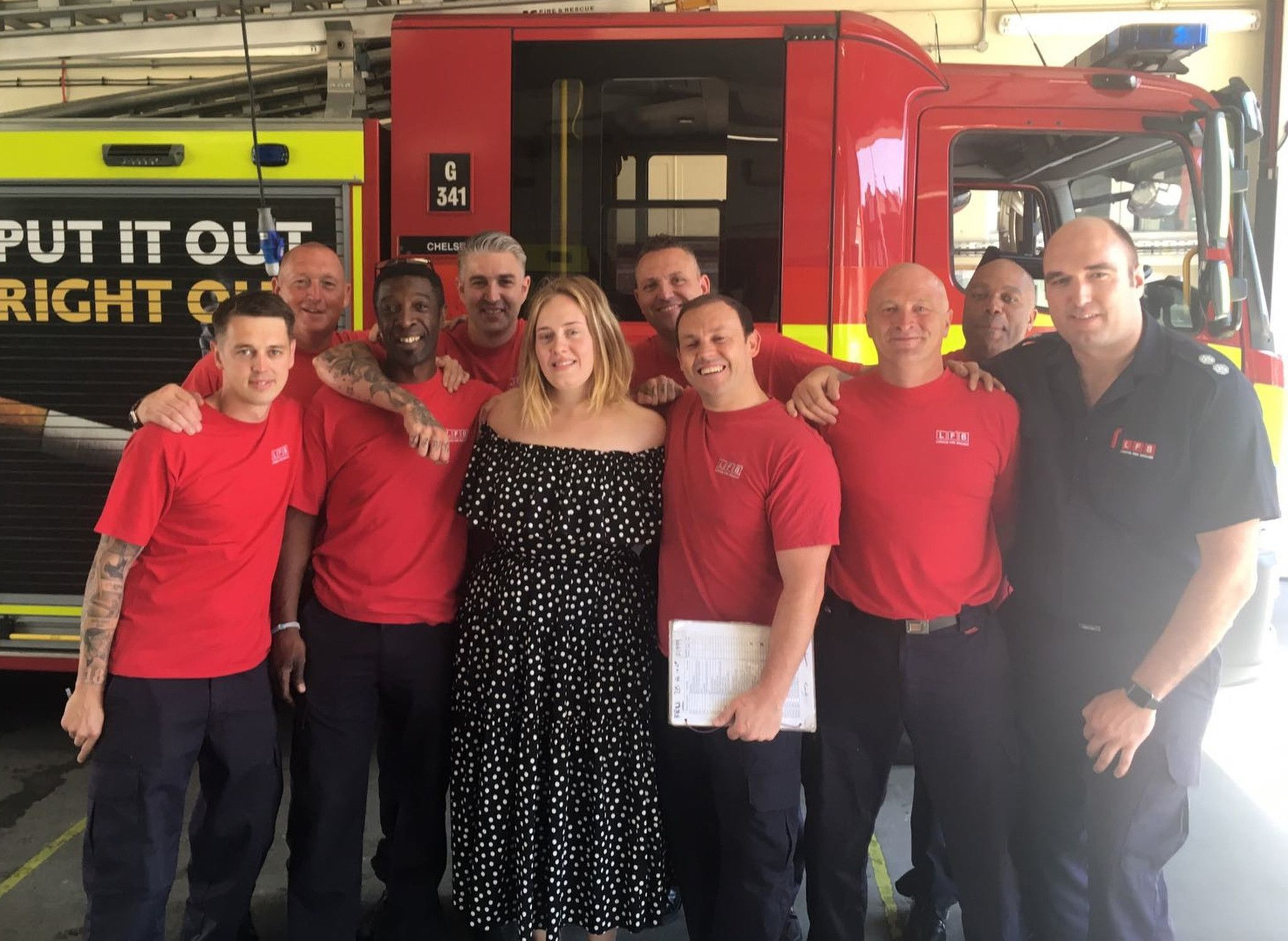 Adele surprises London firefighters after deadly Grenfell Tower fire