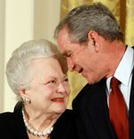 olivia de havilland and george w bush  bush confers national medals