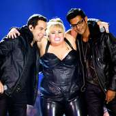 Utkarsh Ambudkar (L-R) Singers Skylar Astin, Rebel Wilson, And Utkarsh