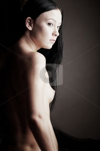 Naked young woman stock photo, Young adult Caucasian woman with black
