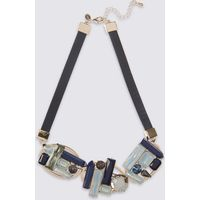 M S Collection Giant Curved Baguette Necklace