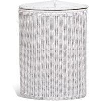 White Rattan Corner Basket
