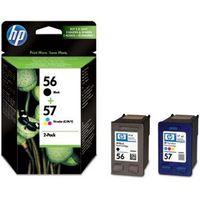HP 56/57 Tri-colour & Black Ink Cartridges - Twin Pack, Black