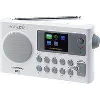 ROBERTS STREAM107W Portable DAB Clock Radio - White & Grey, White