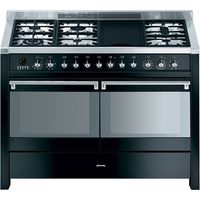 SMEG Opera A4BL-8 120 cm Dual Fuel Range Cooker - Black & Stainless Steel, Stainless Steel