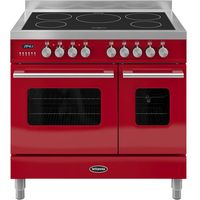 BRITANNIA RC9TIDERED Electric Induction Range Cooker - Gloss Red & Stainless Steel, Stainless Steel