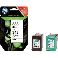 HP 338/343 Tri-colour & Black Ink Cartridges - Twin Pack, Black