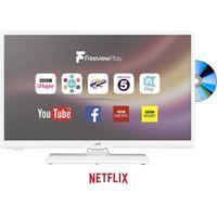 24 JVC LT-24C656 Smart LED TV with Built-in DVD Player - White, White