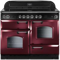 RANGEMASTER Classic 110 Electric Ceramic Range Cooker - Cranberry & Chrome, Cranberry