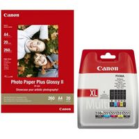 CANON PGI-550XL/CLI-551 Cyan, Magenta, Yellow & Black Ink Cartridges with 20 Sheets A4 Glossy Photo Paper, Cyan
