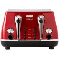 DELONGHI Micalite CTOM4003R 4-Slice Toaster - Red, Red