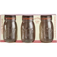 KILNER Round 1-litre Clip Top Jars - Pack of 3