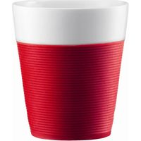 BODUM Bistro Porcelain Mug with Silicone Band - Red, Pack of 2, Red
