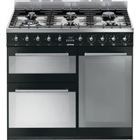SMEG Symphony 90 cm Dual Fuel Range Cooker - Black & Stainless Steel, Stainless Steel