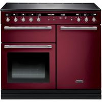 RANGEMASTER Hi-LITE 100 Electric Induction Range Cooker - Cranberry & Chrome, Cranberry