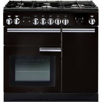 RANGEMASTER Professional 90 Dual Fuel Range Cooker - Black & Chrome, Black