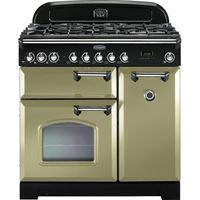 RANGEMASTER Classic Deluxe 90 Dual Fuel Range Cooker - Olive Green & Chrome, Olive