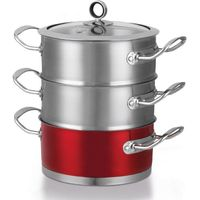 MORPHY RICHARDS 46381 18 cm 3-Tier Steamer - Red, Red