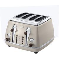 DELONGHI Icona Vintage CTO-V4003BG 4-Slice Toaster - Cream, Cream