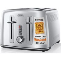 BREVILLE The Perfect Fit for Warburtons VTT571 4-Slice Toaster Stainless Steel, Stainless Steel