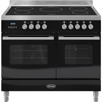 BRITANNIA Delphi 100 Twin Electric Induction Range Cooker - Gloss Black & Stainless Steel, Stainless Steel