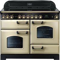 RANGEMASTER Classic Deluxe 110 Electric Ceramic Range Cooker - Cream & Brass, Cream