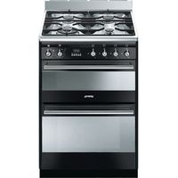 SMEG Concert 60 Dual Fuel Cooker - Black & Stainless Steel, Stainless Steel