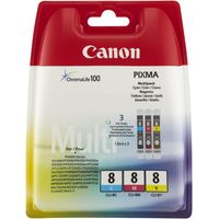 CANON PIXMA CLI-8 Cyan, Magenta & Yellow Ink Cartridges - Multipack, Cyan