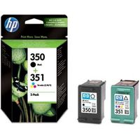 HP 350/351 Tri-colour & Black Ink Cartridges - Twin Pack, Black