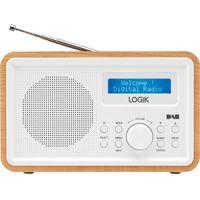 LOGIK LHDR15 Portable DAB/FM Clock Radio - Light Wood & White, White