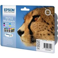 EPSON Cheetah T0715 Cyan, Magenta, Yellow & Black Ink Cartridges - Multipack, Cyan