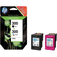 HP 300 Tri-colour & Black Ink Cartridges - Multipack, Black