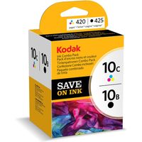 KODAK 10C Tri-colour & 10B Black Ink Cartridge - Twin Pack, Black