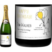 Chilli and Bubble's Birthday Champagne Label in a Gold Gift Box