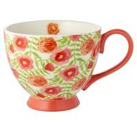 Waitrose Floral Footed Mug Coral