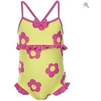 Trespass Splodge Girls Swimsuit - Size: 5-6 - Colour: LEMONGRASS