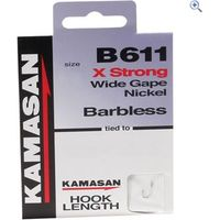 Kamasan B611 Barbless Hook to Nylon, Size 18, pack of 8