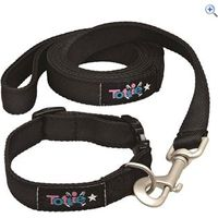 Tottie Dog Collar and Lead Set - Size: L - Colour: Black