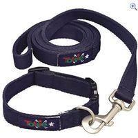 Tottie Dog Collar and Lead Set - Size: L - Colour: Navy