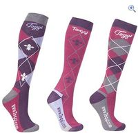 Toggi Chestermere Ladies Socks (3 Pack) - Colour: Pink