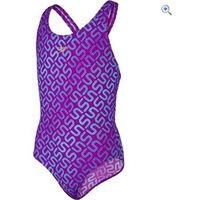 Speedo Girls Monogram Allover Splashback Swimsuit - Size: 28 - Colour: DIVA-BALI BLUE