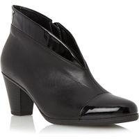 Gabor Enfield asymmetric leather ankle boots, Black Leather