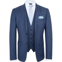 Mens Paul Costelloe Slim Fit Blue Micro Check Suit Jacket, Blue