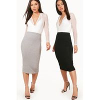 Two Pack Basic Jersey Midi Skirts - multi