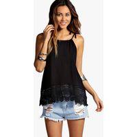 Halter Crochet Trim Top - black