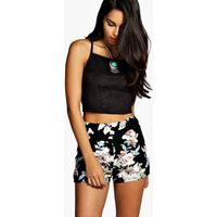 Floral High Waisted Shorts - multi