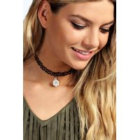 Sun Stretchy Tattoo Choker - black