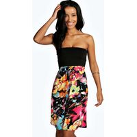 Contrast Top Floral Bandeau Dress - multi