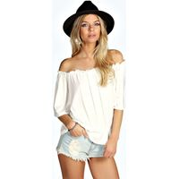 Shirred Off The Shoulder 1/2 Sleeve Top - cream