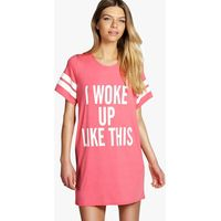 I woke Up Like This Oversized Tee Night Dress - coral